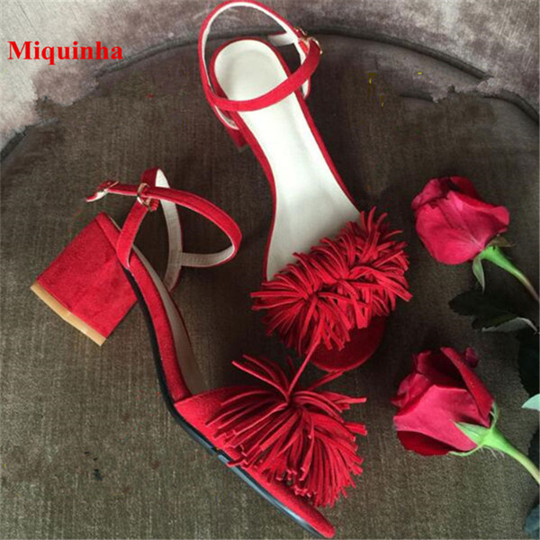 Summer Hot Red Women Gladiator Sandals Open Toe Fringe Designer Buckle Strap Women Sandals Cozy Suede Tide Shoes Women Tassel