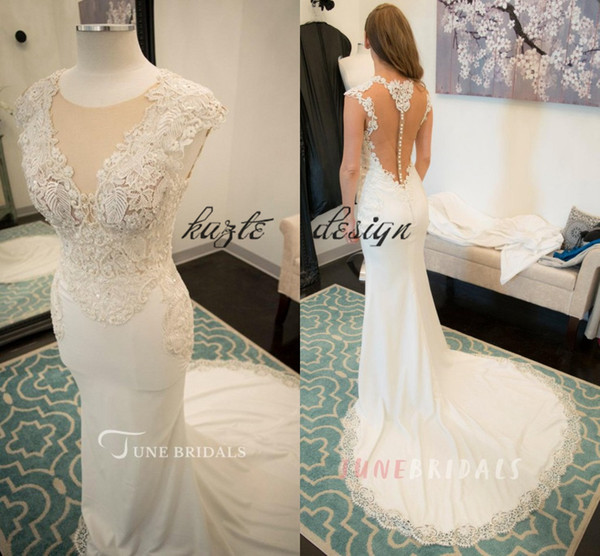 Jewel Illusion Neck Cap Sleeve Fit and Flare Jersey Wedding Dresses 2018 Real Image Lace Pearls Garden Country Mermaid Wedding Gown