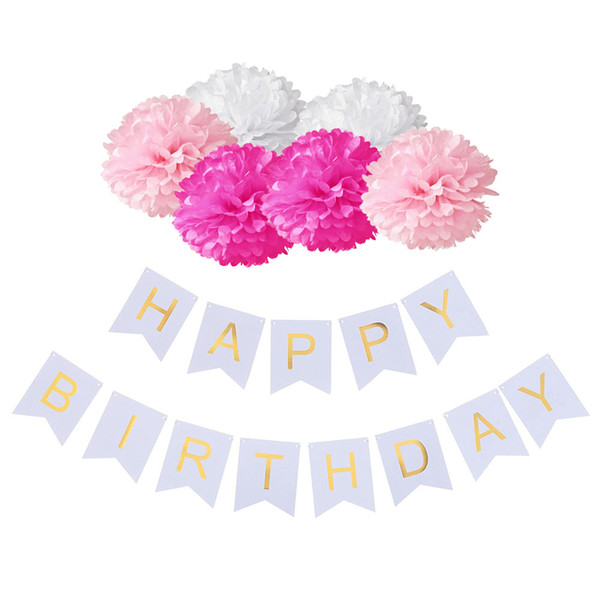 wholesale Happy Birthday Decoration Banner Pastel Perfection and Pink Blue Paper Flower Ball 1st Birthday Baby Shower Party Supplies