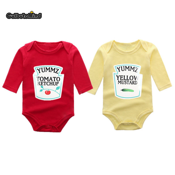 Culbutomind Winter style Long sleeve Yummz Tomato Ketchup Red&Yellow Baby Bodysuit Baby 1ST Birthday Gift