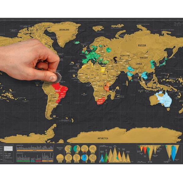 1 unids Deluxe Borrar Mapa del Mundo Negro Rascarse Mapa del Mundo Viaje personalizado para la Habitación de Mapa Decoración Del Hogar Pegatinas de Pared