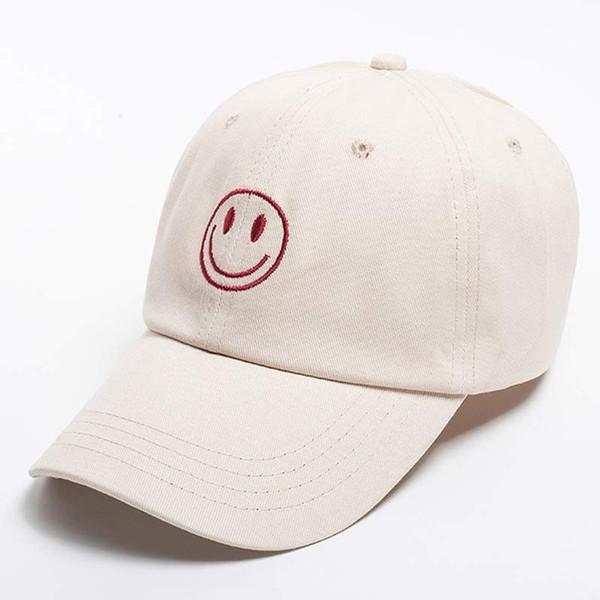 Kadın Chic Emoji Gülümseme Yüz Beyzbol Şapkası Nakış Hip Hop ile Snapback Sevimli Şapka Bej Sarı Siyah