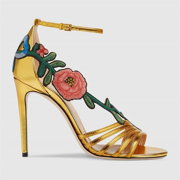 Peep Toes Women's shoes Super High-heeled Embroidery Flower Sandals Ankle Wrap stiletto size 34-44 Summer Sandals Dress shoe Show's Party