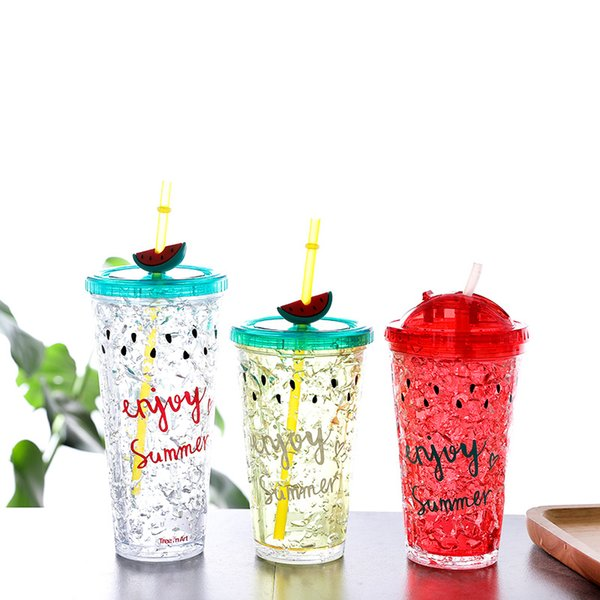 Fashion Double Layer Cold Drink Water Bottles With Straw bpa Free For School Kids Popular Cute Plastic Summer Bottle 450/650ml