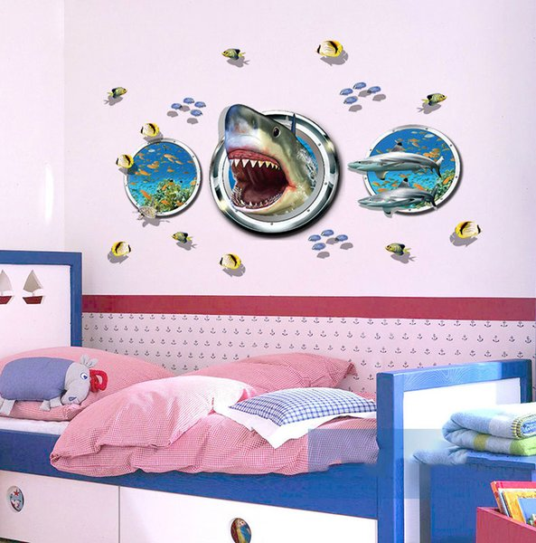 3D Printing Shark Wall Stickers Wallpaper Wall Picture Art Vintage Room Home Decor Kitchen Accessories Household Crafts Suppllies