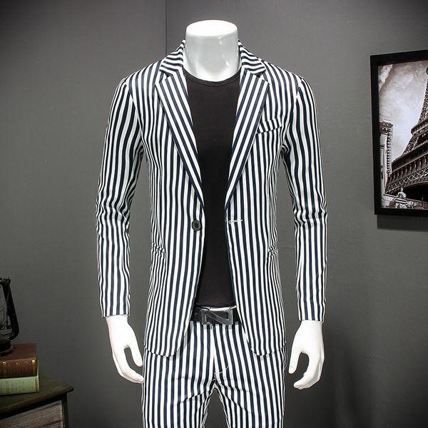 c42d8e85b0 Acquista 2018 New Striped Blazer Uomo Slim Fit Blazer Vintage Suit Jacket  Uomo Elegante Chaquetas Hombre De Vestir Plus Size 4xl A $74.73 Dal Vikey08  ...