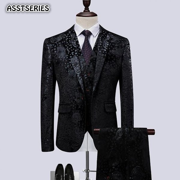 Luxury Men Suit Fashion New Single Breasted Black Flower Night Club Tuxedo Men Suits British Bridegroom Wedding Suits For