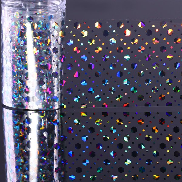 4 * 100 cm Holographic Holograma Da Folha Do Hexágono Dot Manicure Nail Art Transferência Starry Sticker Decorações Acessórios