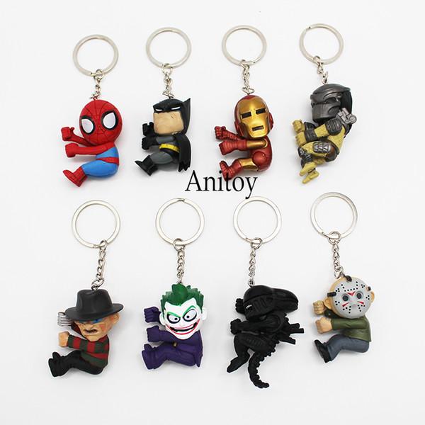 ction figure toys 8pcs/set Keychains Superheroes Q Version Spiderman Batman Alien Joker Predators Freddy Jason PVC Action Figure Toys Dol...