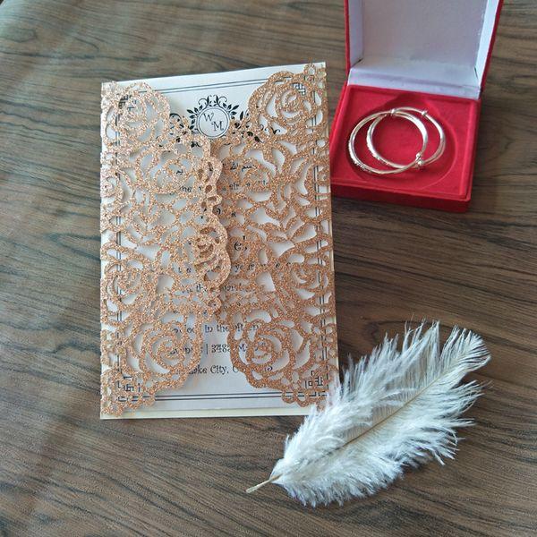 Il matrimonio di scintillio invita con la busta 2019 Champagne Gold Silver Blue Laser Cut Flora invito a nozze Kit spedizione gratuita da DHL