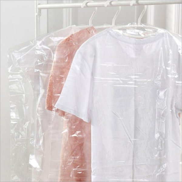 20pcs/Lot Plastic Transparent Cleanning Cloth Dust Cover Hanging Pocket Storage Bag Wardrobe Clothing