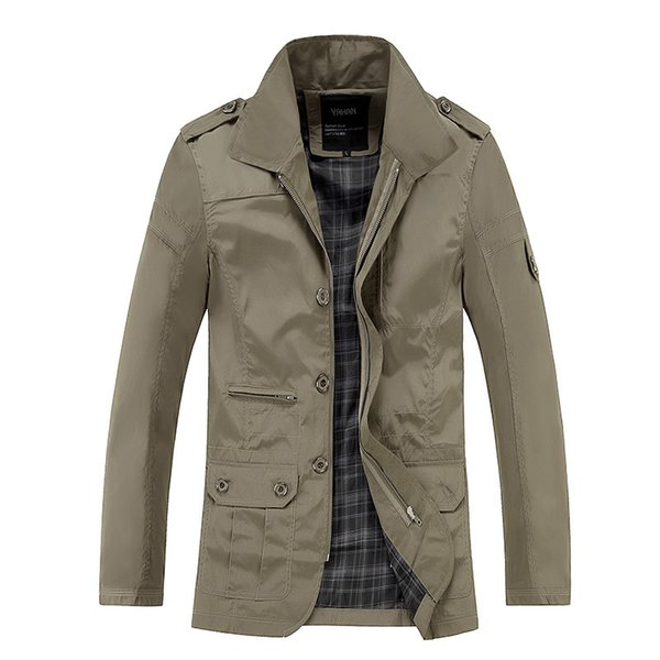 Wholesale-2016 Autumn long windbreaker men Solid color double breasted trench coats business mens plus size windbreaker