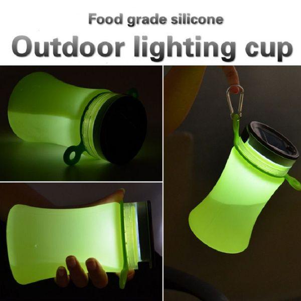 550ml Solar energy water bottle camping led Night light sport drinking copo Charging interface garrafa de agua drink bottle