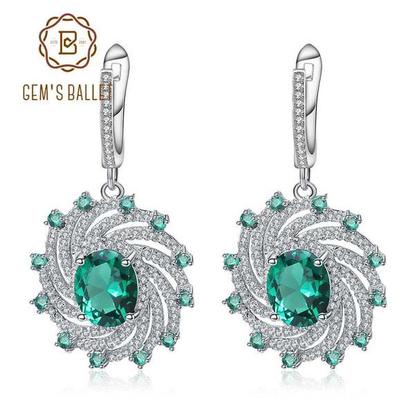 Gem's Ballet Huge Luxury Nano Emerald Dangle Earrings Solid 925 Sterling Silver Vintage Earrings For Women Gift Fine Jewelry