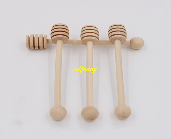 top popular 300pcs lot Fast shipping Wooden Stirrers Honey Dipper Wood Honey Spoon Stick for Honeys Jar Stick Collect Dispense Honey Tool 2019