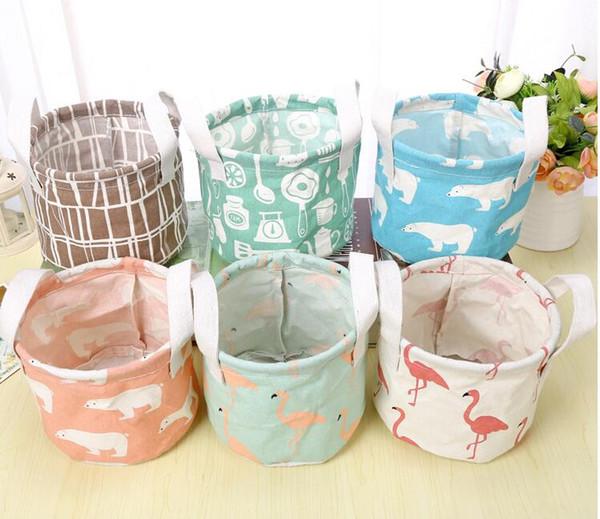6 Styles Round Flamingo Cotton Linen Desktop Storage Box Sundries Storage Organizer Stationery Cosmetic Storage Basket 100pcs