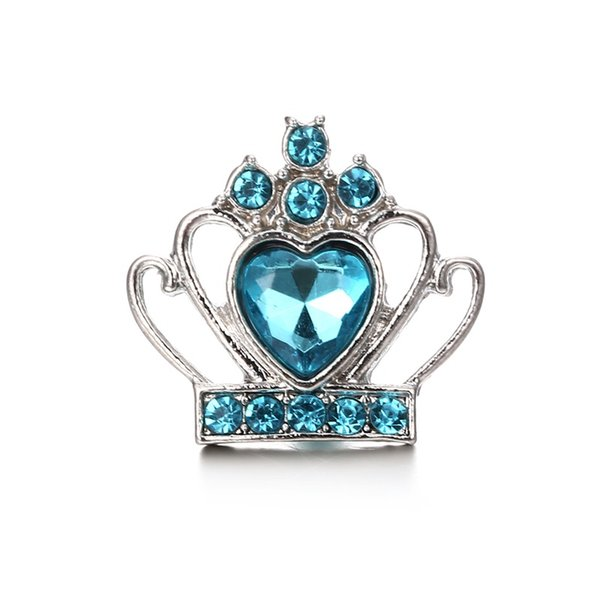 5Colors Crown Crystal 18mm Snap Button Jewelry Bohemia Noosa Chunks DIY Ginger Snap Button Charms Bracelet Necklace Lover