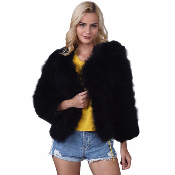 2017 Kış Faux Kürk Ceket Kadınlar Uzun Kollu Chic Sıcak Kısa Tarzı Lüks Kürk Ceket Bayan Sahte Tavşan Dış Giyim Bayanlar 3XL F3