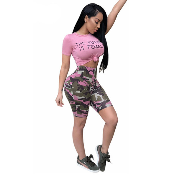 Camouflage Pink Two Piece Set Summer Outfits T Shirt Crop Top And Camo Shorts Set Sexy Tracksuit Matching Sets Female