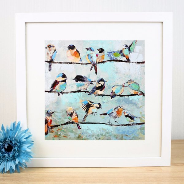 watercolor impression Birds On A Wire Painting Posters And Prints art pictures Wall Poster Home Decoration HD Canvas painting