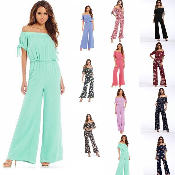 11colors Women Dress Simple Sexy Holiday Style floral Strapless Straps Jumpsuit Chiffon short sleeved dress pants Rompers GGA941