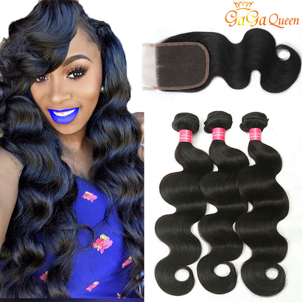 top popular 28 30inch Mink Brazilian Virgin Hair With Closure 3 Bundles Brazilian Body Wave Hair With 4x4 Lace Closure Unprocessed Remy Human Hair Weave 2021