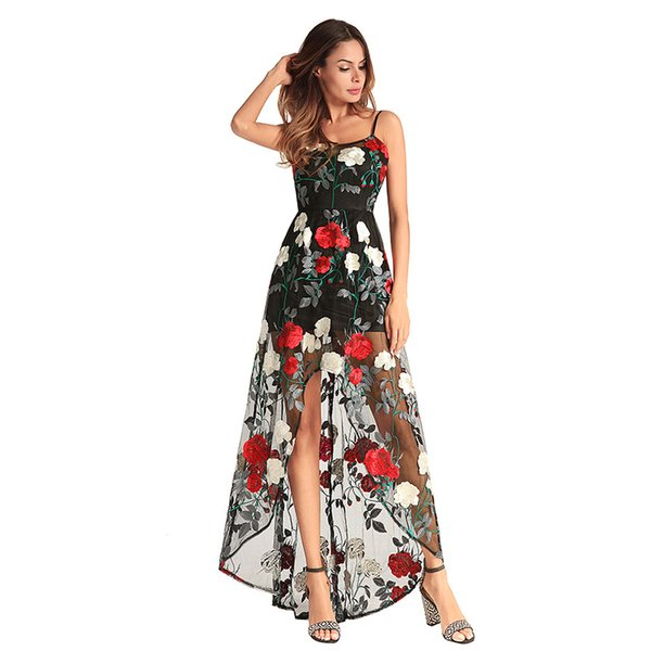 Women Long Dress Elegant Summer 2018 Sexy Boho Floral Embroidery Strap Mesh Stitch Backless Casual Ladies Party Holiday Beach Wear Clothing