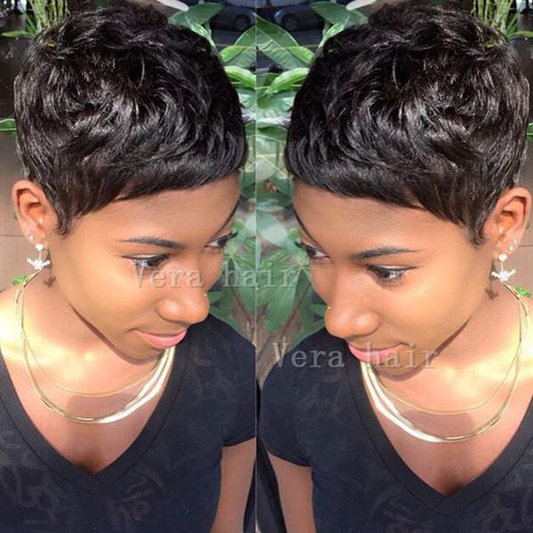 I migliori capelli umani nessuna parrucca di pizzo capelli economici con parrucche bang parrucche vergini brasiliani capelli corti taglio corto per le donne