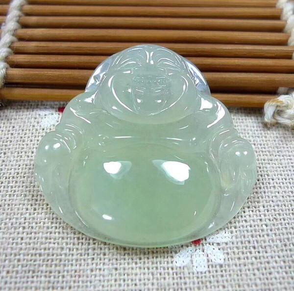 Antique Natural A Icy White Jadeite Jade Buddha God