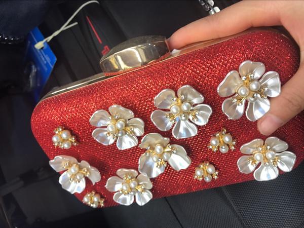 top popular High quality Woman evening cluth Red Flower Wedding Handbag 2019
