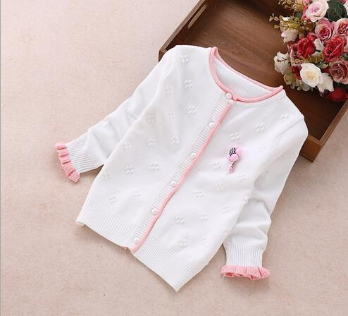2018 Spring Autumn Girls Knit Sweater Baby Cardigans Kids Knitwear Coats Children's Jackets Toddler Cotton Knitted Sweater
