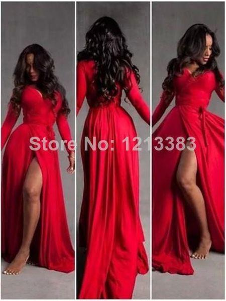 free shipping robe de soiree 2018 new hot vestido de festa longo long sweetheart open leg sexy Formal gown red evening dresses