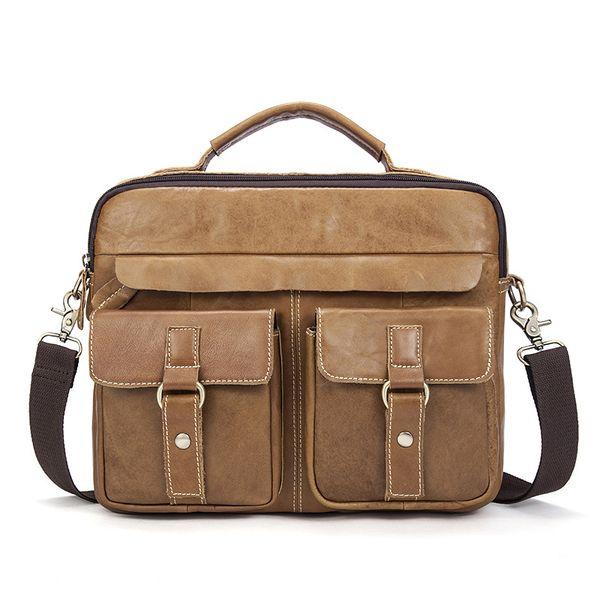 Vintage Male Genuine Leather Men's Bag Crazy Horse Men Messenger Shoulder Luxury Handbag Crossbody Bags Designer Hand Made Totes