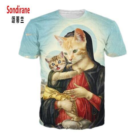 Sondirane Holy Mother and Kitten T-Shir Renaissance Period Art and Cats Vibrant Tees Summer Style T Shirt Tops for Women Men