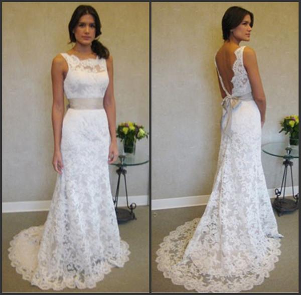 top popular Sleeveless High Neck Mermaid Lace Plus Size Wedding Dresses With Sash vestidos de festa curto e elegante para casamento 2019