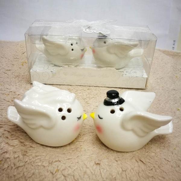 Cumpleaños Retrun Regalos para guets Tarro de especias de cerámica Felizmente después de siempre Angel Love Birds Sal y pimienta Shaker