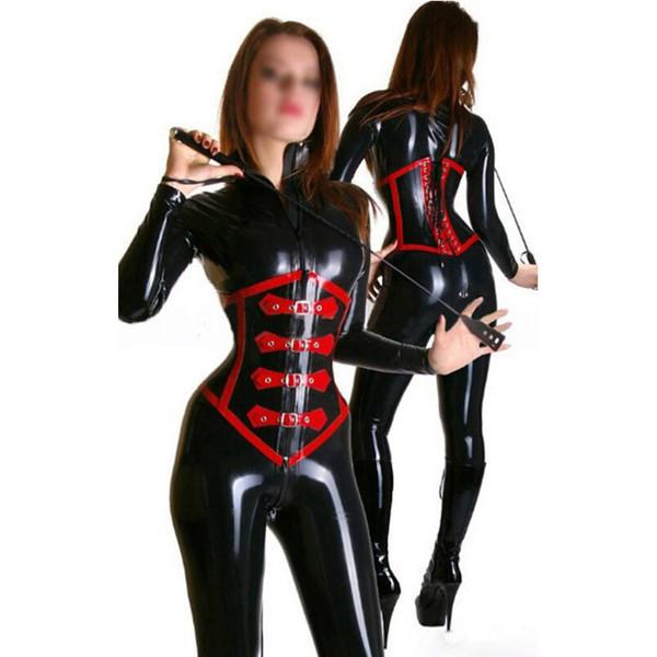 2018 sexy New hot donne femminili fatti a mano esotici Catsuits in lattice con corsetto tuta completa Fetish Uniforme stretto lingerie cekc Costumi XS-XXL