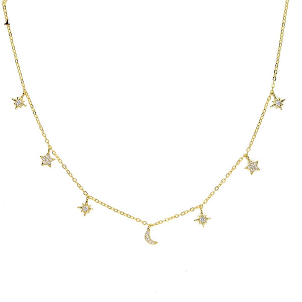 100% 925 sterling silver charme colar gargantilhas lua estrela sol minúsculo bonito charme adorável linda menina de prata impressionante presente da jóia