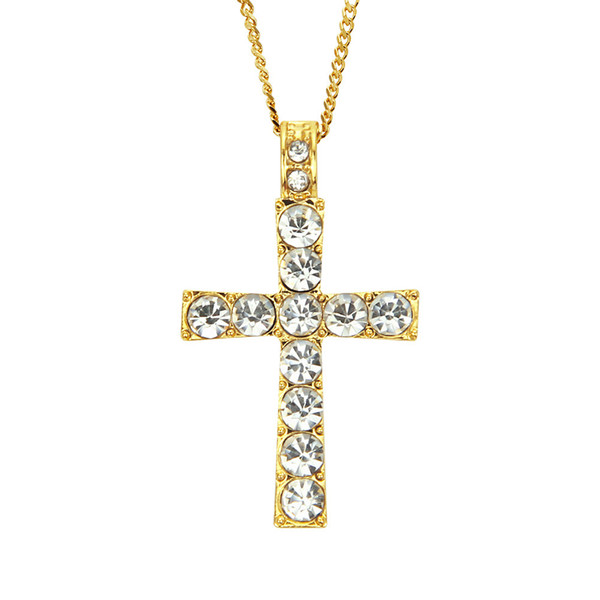Cheap price high quality cross crystal pendant necklace stainless steel gold plated chain men Hip-hop hiphop rap style pendant necklace
