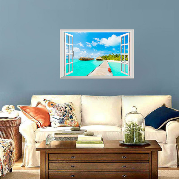 Hot sale Removable 3D Beach Sea Window Wall Stickers View Decor Scenery Home Decor Decal Creative Wallpaper