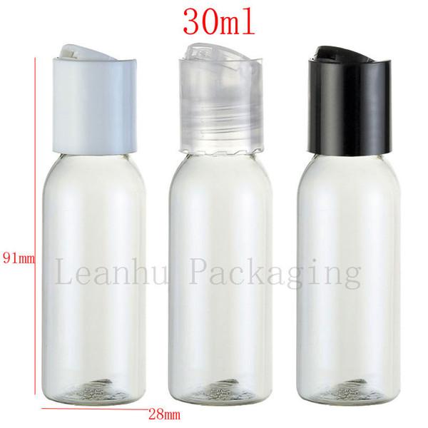 30ml X 50 bottiglie vuote di plastica rotonde trasparenti, contenitori PET 1oz per cosmetici, bottiglie di gel doccia bottiglie di lozione per olio 30CC