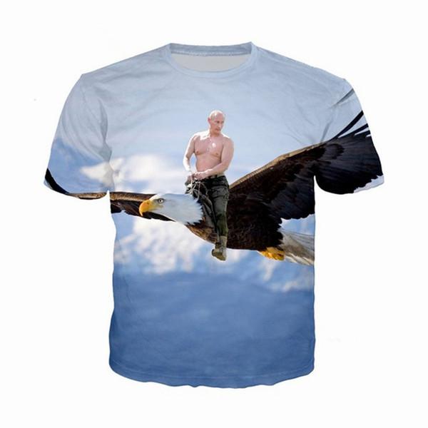 RUSSIE Poutine Femmes Hommes Nouvelle Mode D'été Unisexe Drôle 3d Impression Ras Du Cou Casual T-shirt Tops Tee Tee Q35