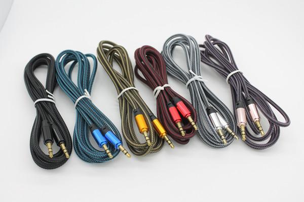 1.8m / 6ft 3.5mm enchapados en oro Metal trenzado tejido macho a cable de cable de audio AUX por DHL 100+