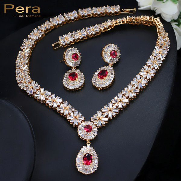 Pera CZ Classic Cubic Zirconia Gold Color Nigerian Wedding African Costume Big Statement Jewelry Set With Red Crystal Stone J060 S18101607