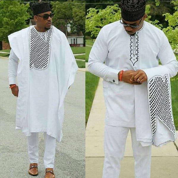 moda hombre roupas homens dashiki Bazin ternos riche africanos encabeça camisa pant 3 peças definir bordado branco roupa dos homens africanos