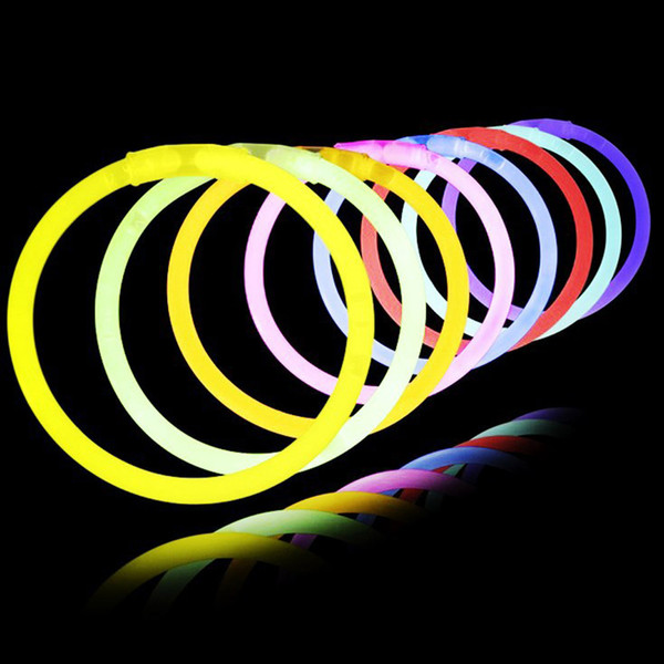 50/100pcs With Connector Glow Sticks Bracelets Necklaces Party Fluorescent Neon Colors Xmas Wedding Decal Christmas Decoration