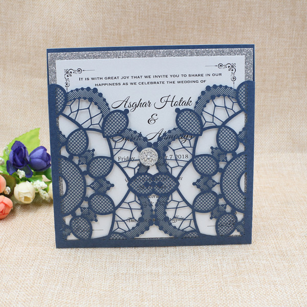 Luxury Navy Blue Glitter Silver Wedding Invitation with Diamond Elegant Die Cut Evening Dinner Invites with Envelope Free Shipping