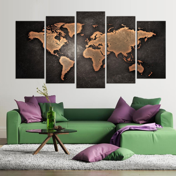 5 Pcs/Set Modern Abstract World Map Wall Art Painting World Map Canvas Printed Painting for Living Room Home Decor Pictures Y18102209