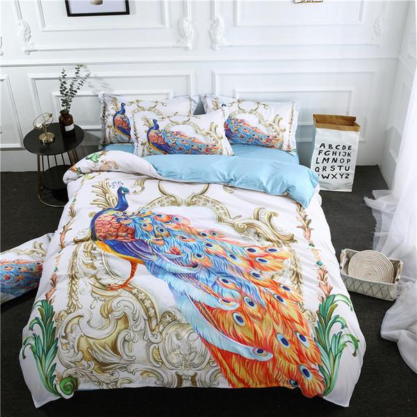 3D copripiumino colorato lenzuolo federa biancheria da letto bohemien 3/4 pezzi tessili per la casa pavone animale blu bianco set di biancheria da letto