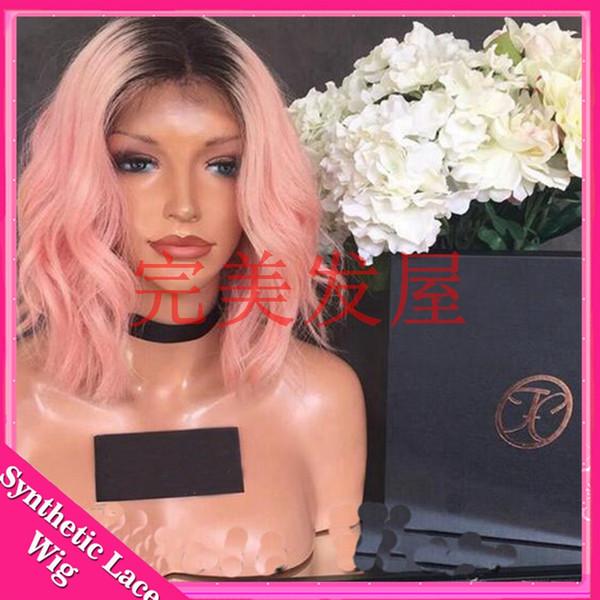 parrucca parrucca anteriore in pizzo sintetico riccia sintetico corto rosa ombre per donna afroamericana